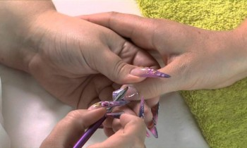 Acrylic Nails How To: Purple Swirls and 3D Flowers and Leaves Video Tutorial by Naio Nails