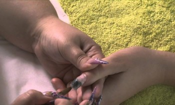How to do a Snakeskin Effect Acrylic Nail Design Using Netting Tutorial Video by Naio Nails