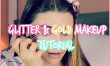 Gold & Black Glitter Makeup Tutorial w/ Pink Lip!
