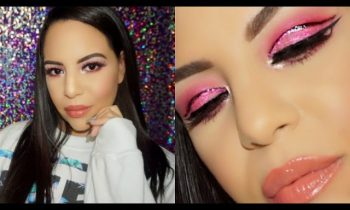 Pink & Purple glitter cut crease Makeup Tutorial  for beginners !