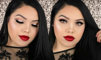 SOFT HOLIDAY GLAM MAKEUP TUTORIAL | Glitter Liner & Red Lips