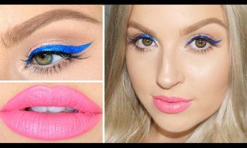 GRWM Hair & Makeup! ♡ Electric Blue Liner, Pink Lips & Retro Waves!