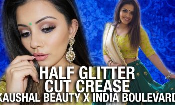 Half Glitter CUT CREASE Makeup Tutorial  💙 Kaushal x India Boulevard COLLAB !!