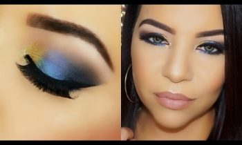 Drugstore Bold Blue & Gold Glitter Eye Makeup Tutorial !