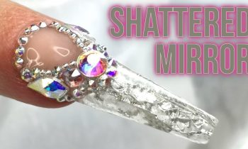 Shattered Mirror Sculpted Acrylic Nail Art with BLING!!!
